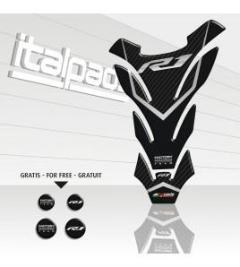 """Protection Protège Réservoir Tank Pad pour Yamaha R1 mod. """"Detroit"""" gris effet carbone + 4 gratuit!!"""