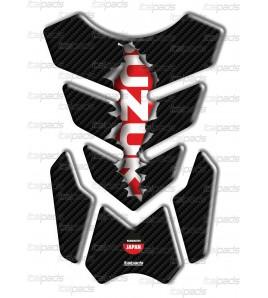 """Protection Protège Réservoir mod. """"3Wings Rip"""" pour Suzuki  effet carbone/rouge"""