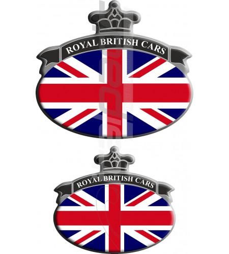 Set. 2 Autocollants Union Jack Royal British drapeau Range Rover noir/gris