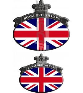Set. 2 Autocollants Union Jack Royal British drapeau Range Rover noir/bleu