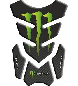 Protège Réservoir Monster noir/effet carbone nuancé